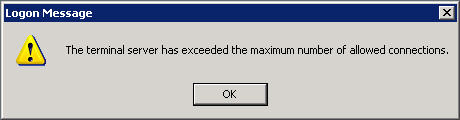 Terminal Server Error Message
