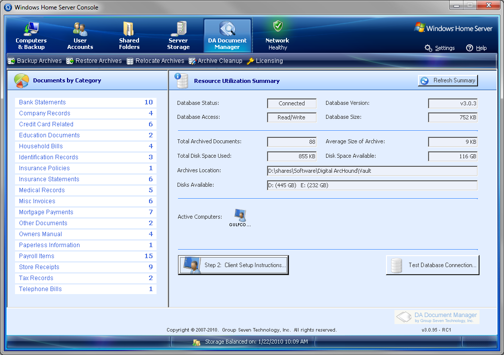 add in da document manager 2010 ms windows home server. Black Bedroom Furniture Sets. Home Design Ideas